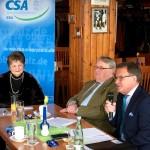 V.l.n.re.: Renate Blochberger, CSA Bezirksgeschäftsführerin, Rudi Kraus, MDB a.d und SEN Bezirksvorsitzender, MdB Reiner Meier, CSA Bezirksvorsitzender